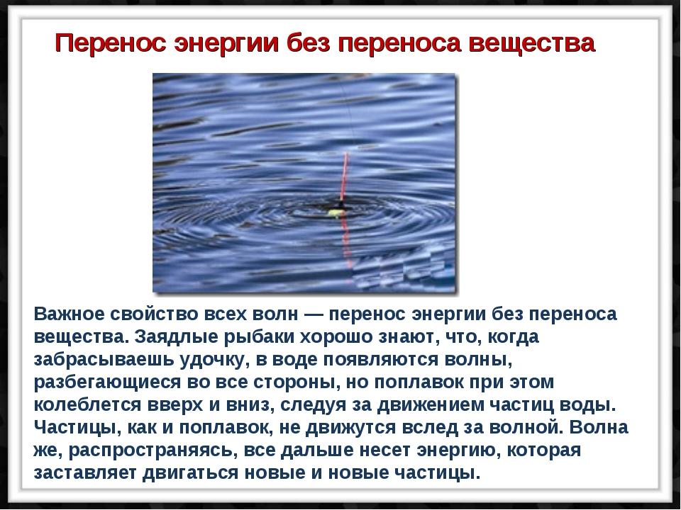 Важное свойство всех волн — перенос энергии без переноса вещества. Заядлые ры...