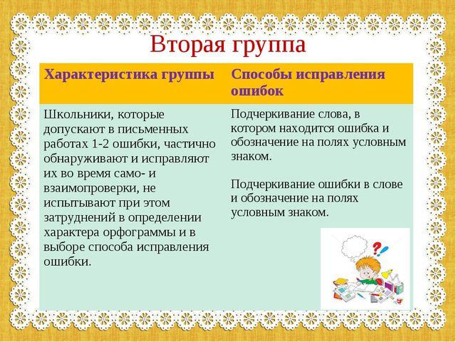 Вторая группа Характеристика группыСпособы исправления ошибок Школьники, кот...