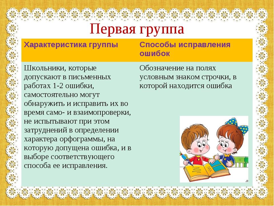Первая группа Характеристика группыСпособы исправления ошибок Школьники, кот...