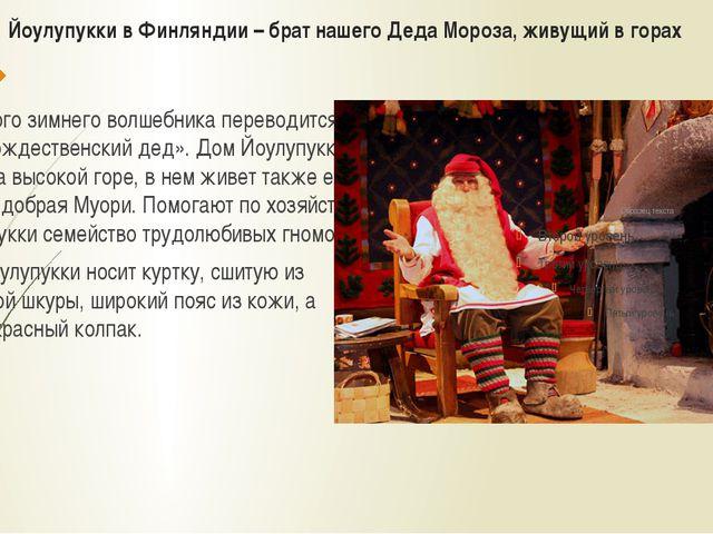 Йоулупукки в Финляндии – брат нашего Деда Мороза, живущий в горах Имя этого з...