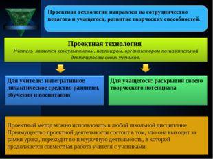 Проектный метод можно использовать в любой школьной дисциплине Преимущество п