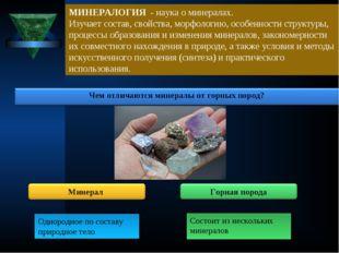 МИНЕРАЛОГИЯ - наука о минералах. Изучает состав, свойства, морфологию, особе