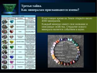 Третья тайна. Как минералам присваиваются имена? В настоящее время на Земле