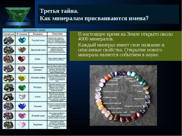 Третья тайна. Как минералам присваиваются имена? В настоящее время на Земле...