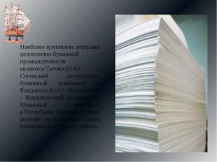 Наиболее крупными центрами целлюлозно-бумажной промышленности являютсяСегежа