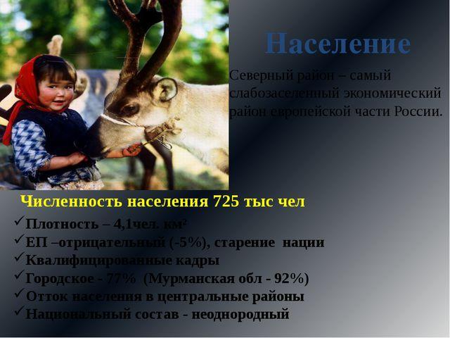 Население Численность населения 725 тыс чел Плотность – 4,1чел. км² ЕП –отриц...