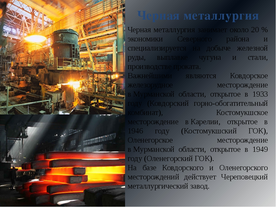 Черная металлургия Черная металлургия занимает около 20 % экономики Северного...