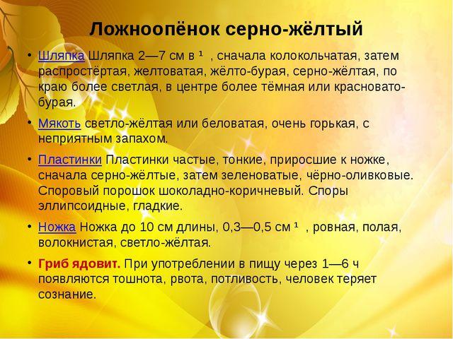 Ложноопёнок серно-жёлтый ШляпкаШляпка 2—7 см в ∅, сначала колокольчатая, зат...