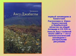 Аксу́-Жабагли́нский госуда́рственный приро́дный запове́дник— первыйзаповед