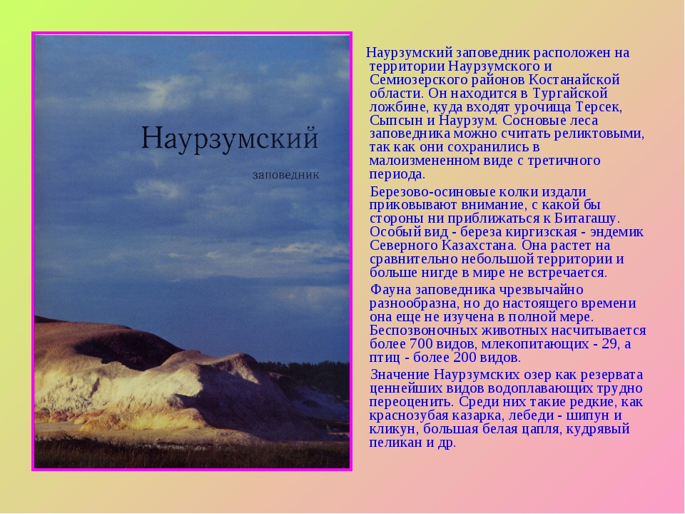 Наурзумский заповедник расположен на территории Наурзумского и Семиозерского...