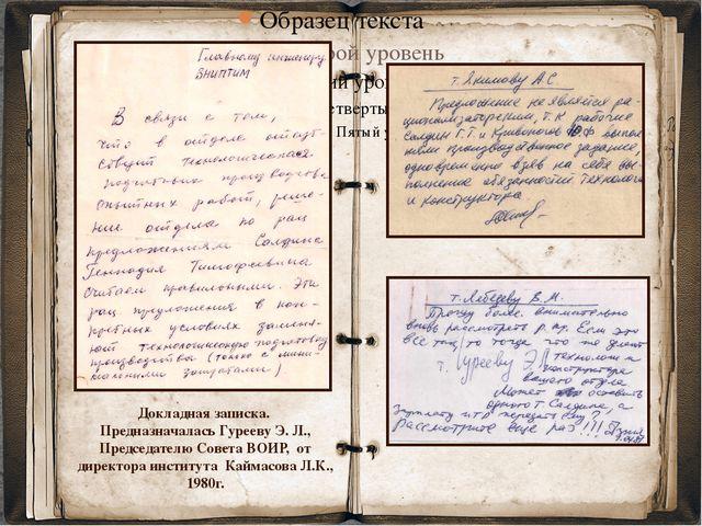 Докладная записка. Предназначалась Гурееву Э. Л., Председателю Совета ВОИР,...