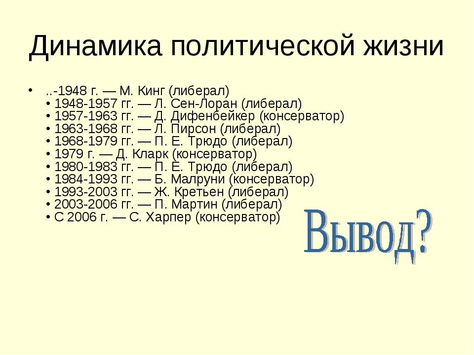 Динамика политической жизни ..-1948 г. — М. Кинг (либерал) • 1948-1957 гг. —...