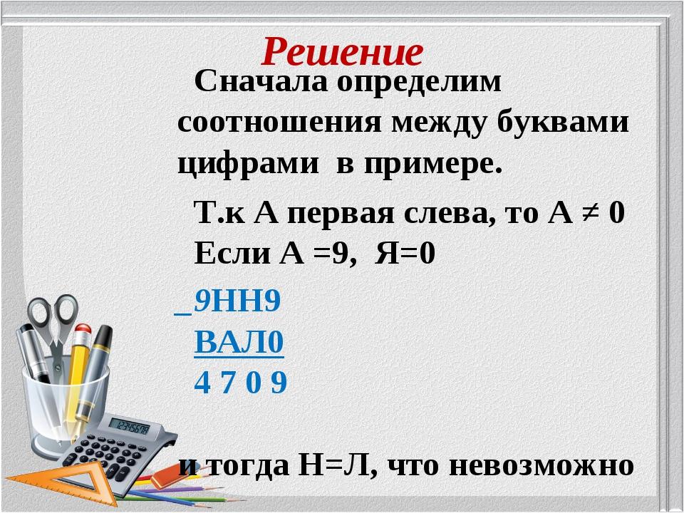 Решение Сначала определим соотношения между буквами цифрами в примере. Т.к А...