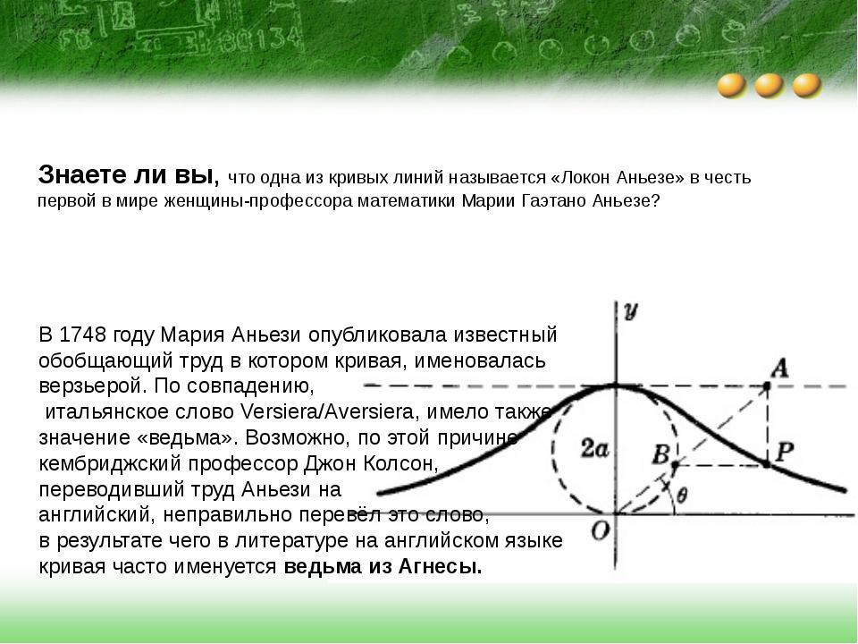 Знаете ли вы, что одна из кривых линий называется «Локон Аньезе» в честь перв...