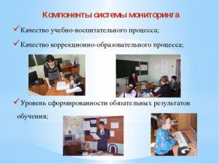 Компоненты системы мониторинга Качество учебно-воспитательного процесса; Каче