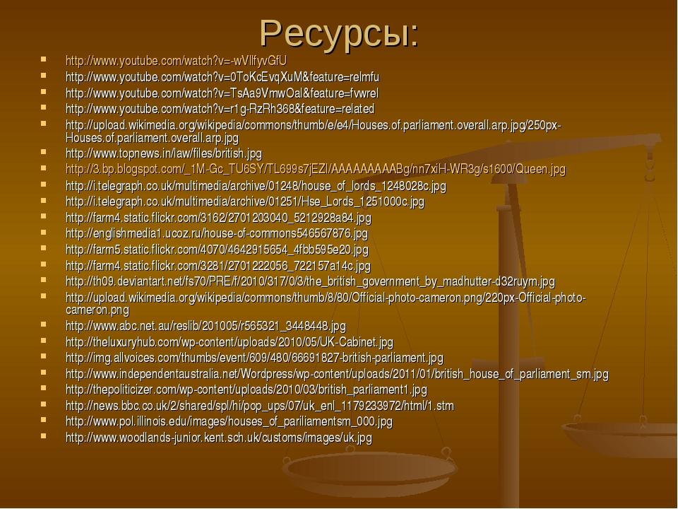 Ресурсы: http://www.youtube.com/watch?v=-wVllfyvGfU http://www.youtube.com/wa...