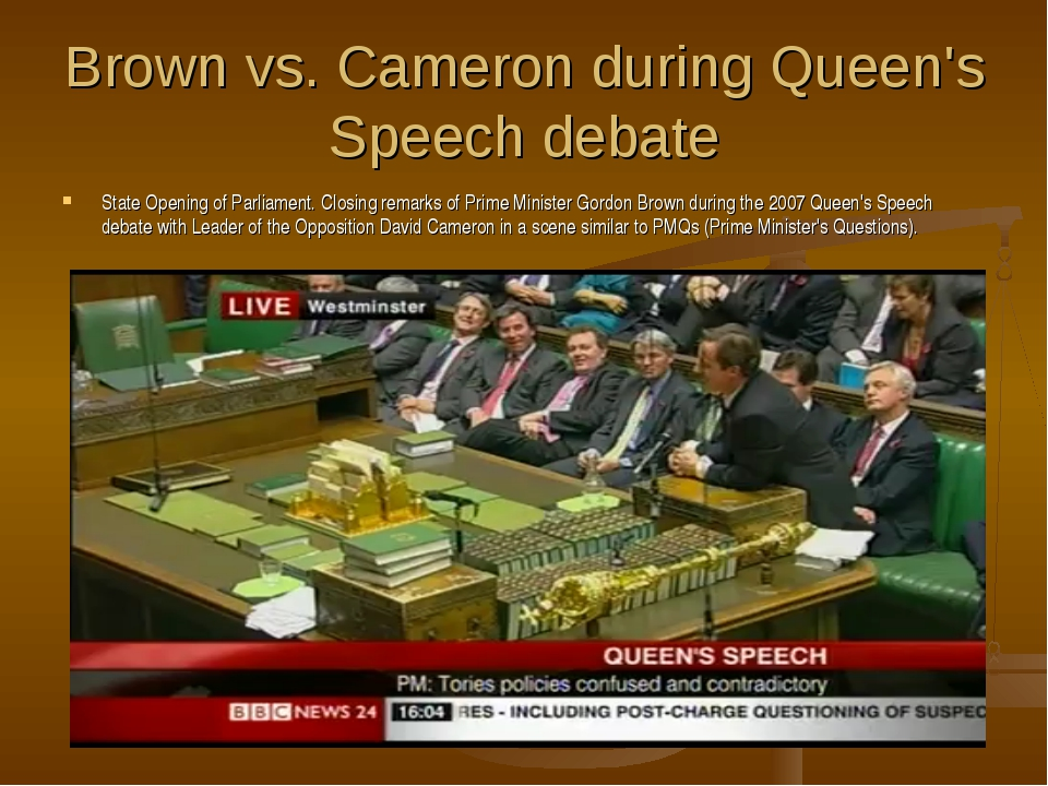 Brown vs. Cameron during Queen's Speech debate State Opening of Parliament. C...