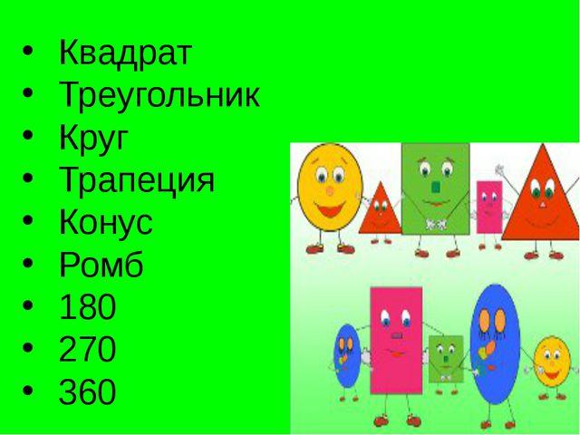 Квадрат Треугольник Круг Трапеция Конус Ромб 180 270 360