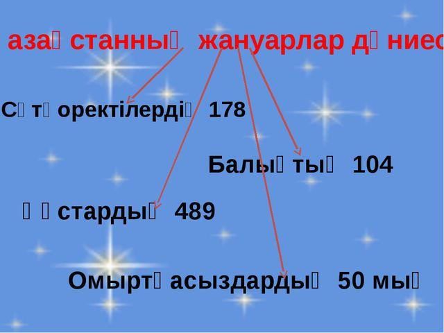 Қазақстанның жануарлар дүниесі Сүтқоректілердің 178 Құстардың 489 Балықтың 10...