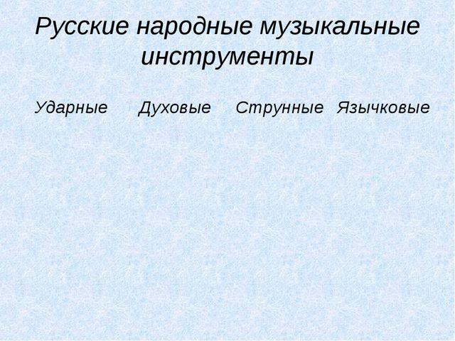 Русские народные музыкальные инструменты УдарныеДуховыеСтрунныеЯзычковые