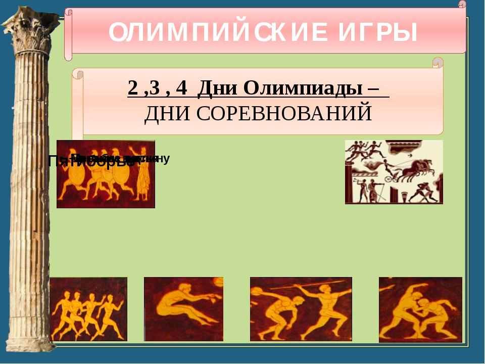 ОЛИМПИЙСКИЕ ИГРЫ 2 ,3 , 4 Дни Олимпиады – ДНИ СОРЕВНОВАНИЙ