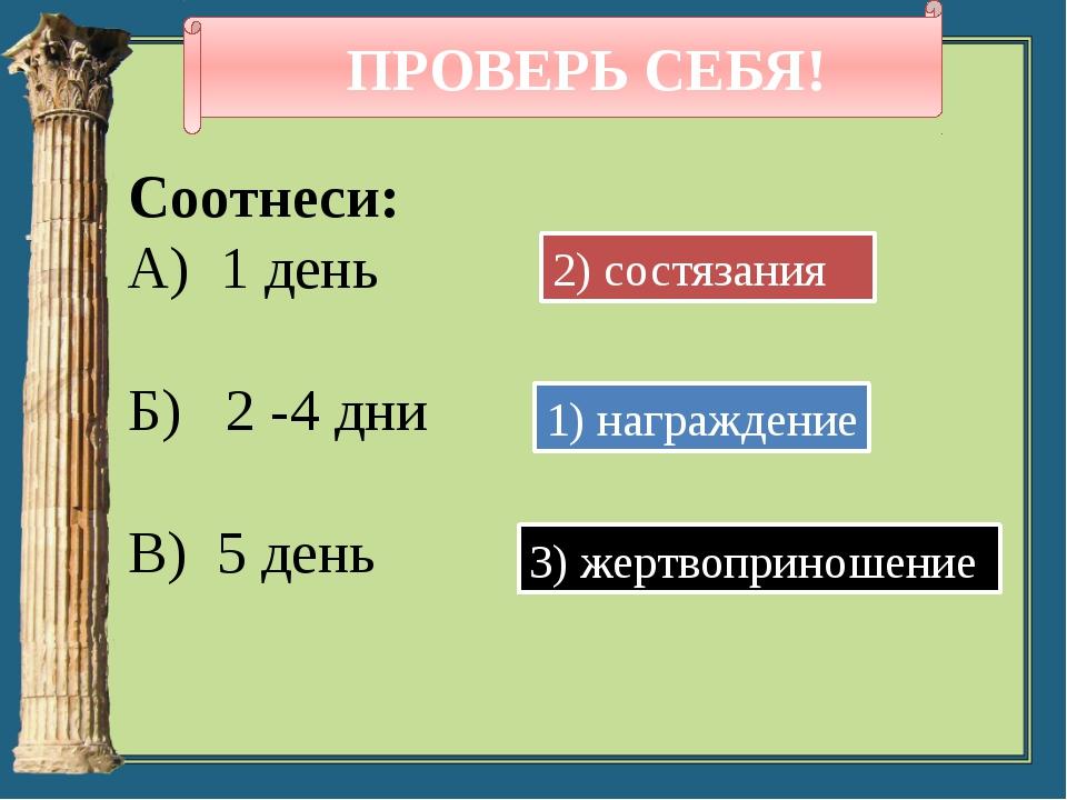 ПРОВЕРЬ СЕБЯ! Соотнеси: А) 1 день Б) 2 -4 дни В) 5 день 1) награждение 2) со...