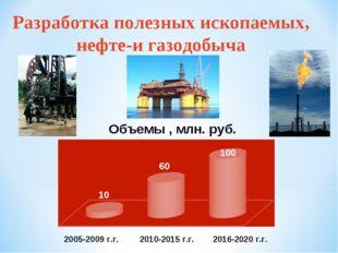 Разработка полезных ископаемых, нефте-и газодобыча 10 60 100 2005-2009 г.г. 2
