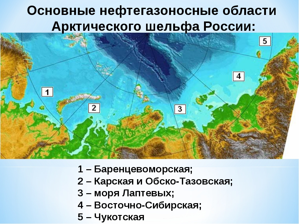 1 – Баренцевоморская; 2 – Карская и Обско-Тазовская; 3 – моря Лаптевых; 4 – В...