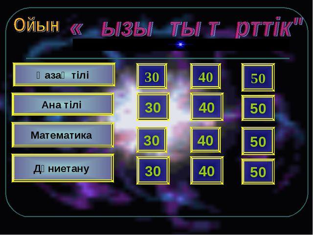 Қазақ тілі 30 30 40 50 40 50 Ана тілі Математика Дүниетану 30 30 40 50 40 50