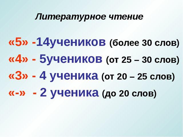 Литературное чтение «5» -14учеников (более 30 слов) «4» - 5учеников (от 25 –...