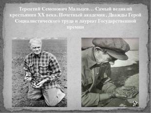 Терентий Семенович Мальцев… Самый великий крестьянин XX века. Почетный академ