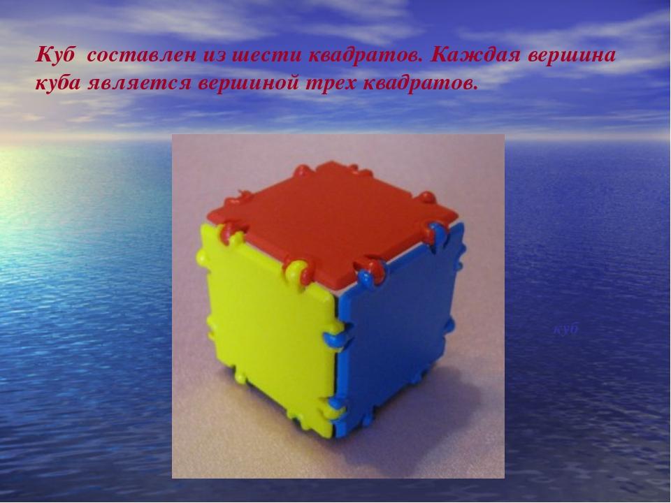 Куб составлен из шести квадратов. Каждая вершина куба является вершиной трех...