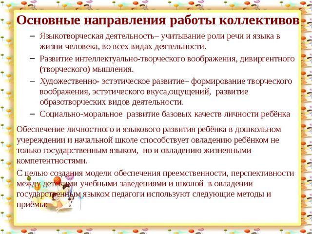Основные направления работы коллективов Языкотворческая деятельность– учитыв...