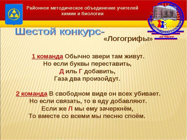 «Логогрифы» Районное методическое объединение учителей химии и биологии 1 ко...
