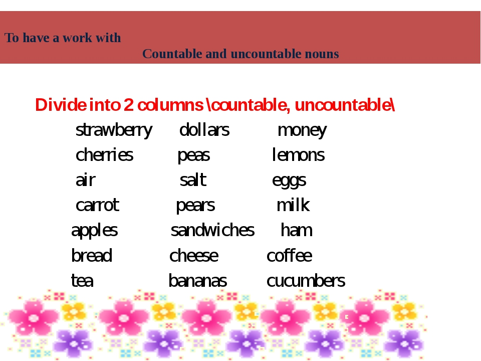 Divide into 2 columns \countable, uncountable\ strawberry dollars money cherr...