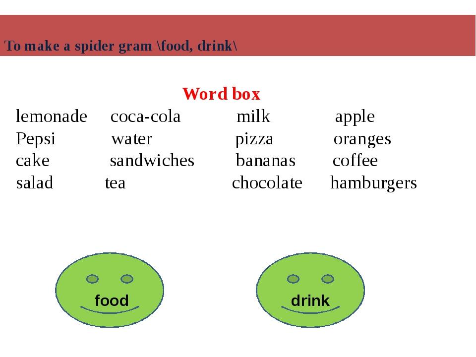 Word box lemonade coca-cola milk apple Pepsi water pizza oranges cake sandwic...