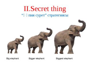 """ІІ.Secret thing """"Құпия сурет"""" стратегиясы Big elephant Bigger elephant Bigges"""