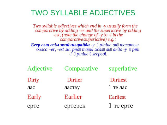 Two syllable adjectives which end in -y usually form the comparative by addi...