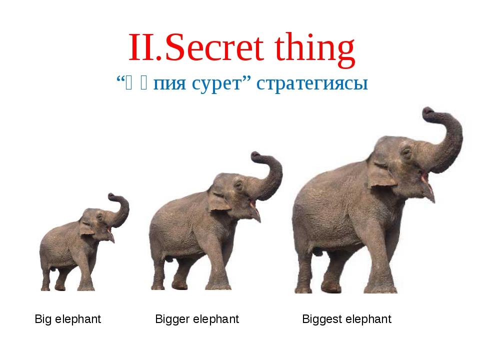 """ІІ.Secret thing """"Құпия сурет"""" стратегиясы Big elephant Bigger elephant Bigges..."""