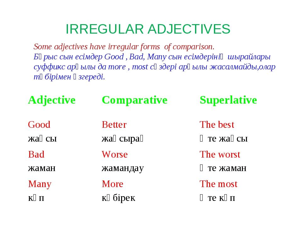 IRREGULAR ADJECTIVES Some adjectives have irregular forms of comparison. Бұры...