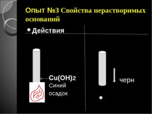 Опыт №3 Свойства нерастворимых оснований Действия Наблюдения Cu(OH)2 Синий ос