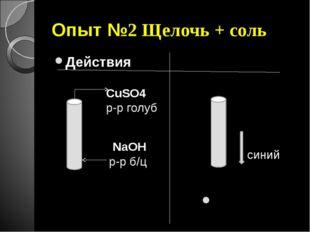 Опыт №2 Щелочь + соль Действия Наблюдения NaOH р-р б/ц CuSO4 р-р голуб синий