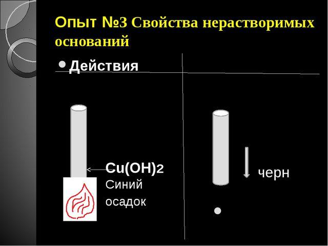 Опыт №3 Свойства нерастворимых оснований Действия Наблюдения Cu(OH)2 Синий ос...