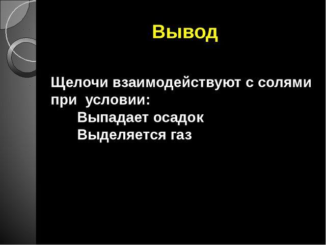 Вывод Щелочи взаимодействуют с солями при условии: Выпадает осадок Выделяется...