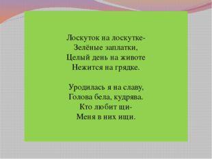Лоскуток на лоскутке- Зелёные заплатки, Целый день на животе Нежится на гряд