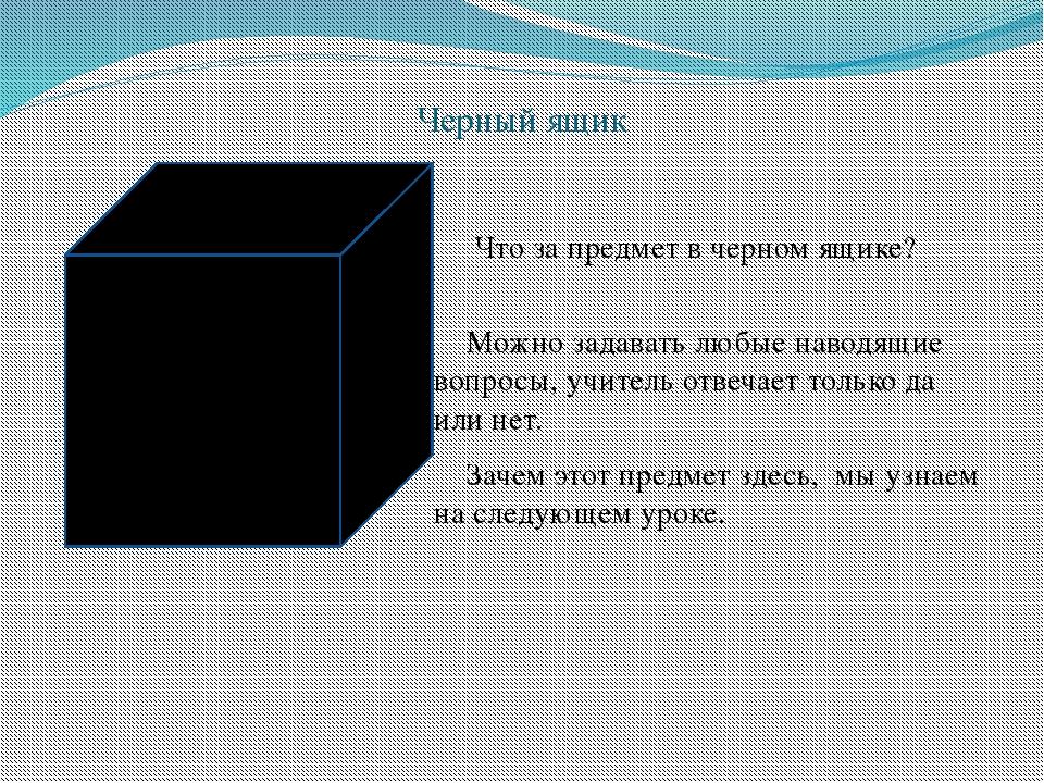 Черный ящик Что за предмет в черном ящике? Можно задавать любые наводящие воп...
