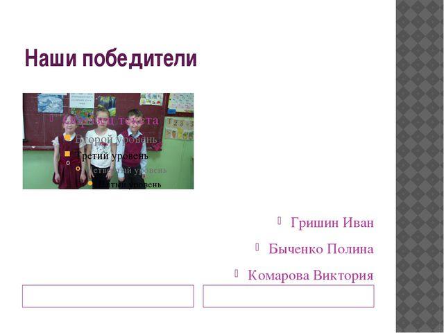 Наши победители Гришин Иван Быченко Полина Комарова Виктория