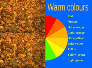 Red Orange Dark-orange Light orange Dark-yellow Iight-yellow Yellow Yellow-gr