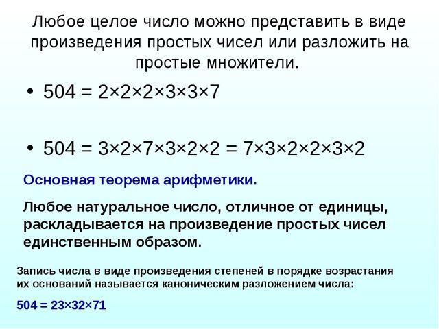 Любое целое число можно представить в виде произведения простых чисел или раз...