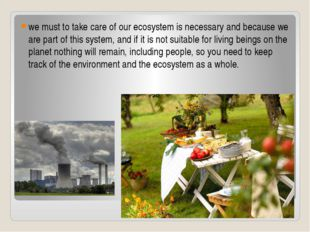 we must to take care of our ecosystem is necessary and because we are part of